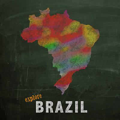 Drawn Mixed Media - Explore Brazil Map Hand Drawn Country Illustration On Chalkboard Vintage Travel Promotional Poster by Design Turnpike