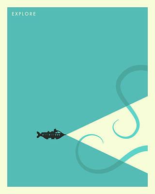 Submarine Digital Art - Explore - 3 by Jazzberry Blue
