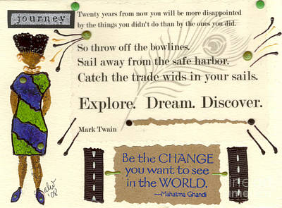 Mixed Media - Explore Dream Discover by Angela L Walker