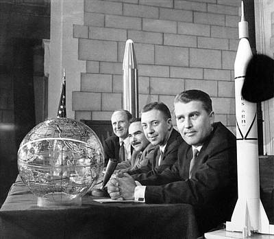 Rocket Science Photograph - Explorer Space Scientists by Underwood Archives