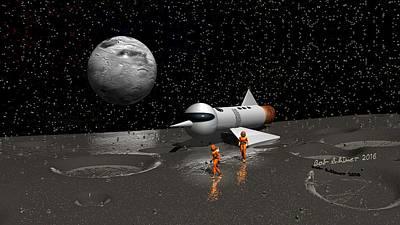 Digital Art - Exploring Ice Moon by Bob Shimer