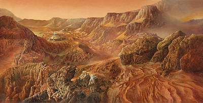 Cosmic Art Painting - Exploring Mars Nanedi Valles by Don Dixon