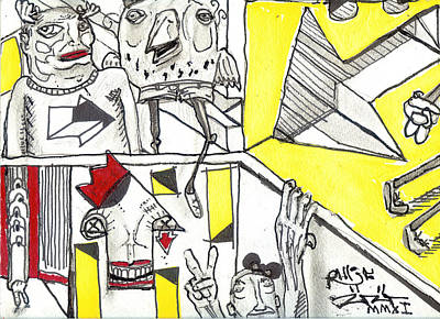 Neo Expressionism Drawing - Exploring Thumbnails by Robert Wolverton Jr