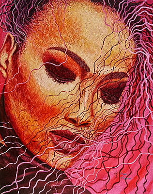 Painting - Expression In Hair by Shahid Muqaddim