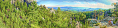 Digital Art - Expression Panoramic Black Hills by Dave Luebbert