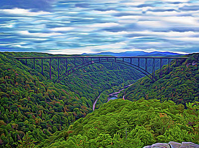 Valentines Day - Expressionalism New River Bridge by Aimee L Maher ALM GALLERY