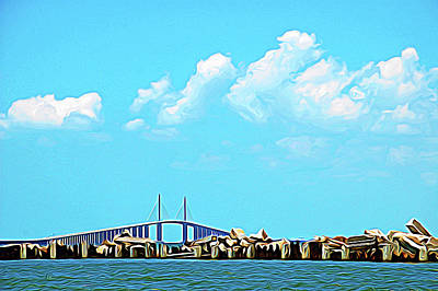 Photograph - Expressionalism Sunshine Skyway Bridge by Aimee L Maher Photography and Art Visit ALMGallerydotcom