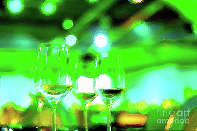 Hand Painted Wine Glass Digital Art - Expressionism Style Oil Painting Party Setting With Colorful Bo by Eiko Tsuchiya