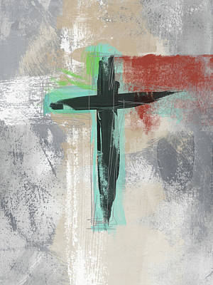 Mixed Media - Expressionist Cross 3- Art By Linda Woods by Linda Woods