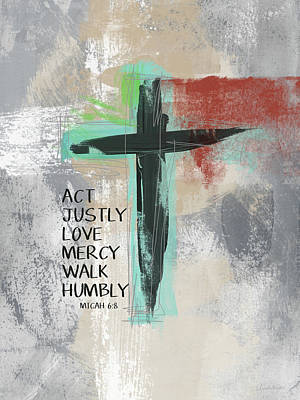 Contemporary Mixed Media - Expressionist Cross Love Mercy- Art By Linda Woods by Linda Woods