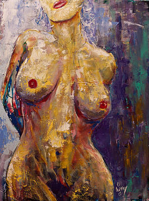 Painting - Expressionist Female Muse Nude Painting by Gray Artus