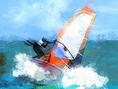 Wind Surfing Painting - Expressionist Orange Sail Windsurfer  by Elaine Plesser