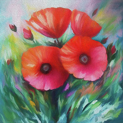 Painting - Expressionist Poppies by OLena Art Brand