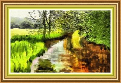 Thomas Kinkade - Expressionist Riverside Scene L B With Decorative Ornate Printed Frame. by Gert J Rheeders