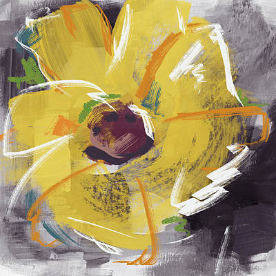 Floral Mixed Media - Expressionist Sunflower- Art By Linda Woods by Linda Woods