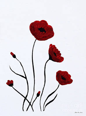 Painting - Expressive Abstract Poppies A6116c_e by Mas Art Studio