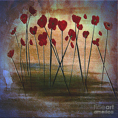 Painting - Expressive Floral Red Poppy Field 725  by Mas Art Studio