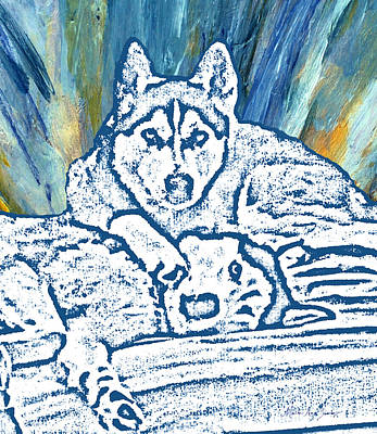 Painting - Expressive Huskies Mixed Media F51816 by Mas Art Studio