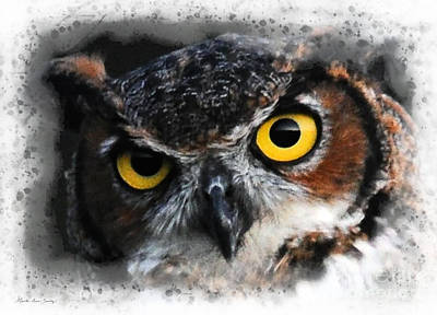 Digital Art - Expressive Owl Digital A2122216 by Mas Art Studio