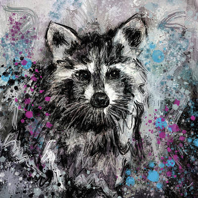 Painting - Expressive Raccoon by Jai Johnson