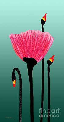 Painting - Expressive Red Pink And Green Poppy 3309t by Ricardos Creations