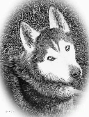 Mixed Media - Expressive Siberian Husky Mixed Media A4617 by Mas Art Studio