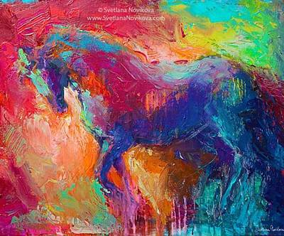 Expressive Stallion Painting By Art Print
