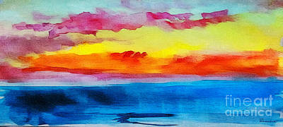 Painting - C2 Abstract Expressive Sunrise Watercolor Painting by Ricardos Creations