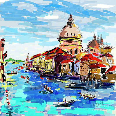Digital Art - Expressive Venice Grand Canal by Ginette Callaway