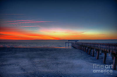 Exquisite Dawn Tybee Island Pier Sunrise Art Art Print by Reid Callaway