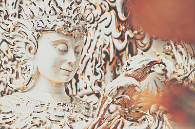 Exquisite Design Detail Of A Meditative Deity-like Statue Carved Inside The White Temple In Thailand Art Print