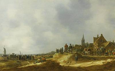 Extensive Beach Scene, Probably At Katwijk Art Print by Jan Josefsz