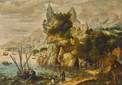Painting - Extensive Coastal Landscape With The Calling Of Saint Peter by Herri met de Bles