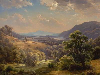 Extensive Landscape Painting - Extensive Landscape With Valley And Mountains by Paul Weber