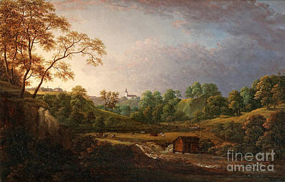 Extensive Landscape Painting - Extensive Landscape With Waterfall by Celestial Images