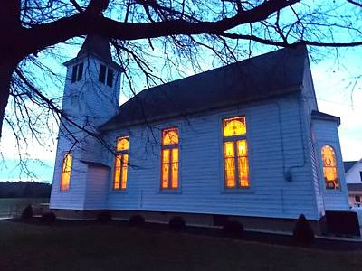 Photograph - Exterior Church Evening by Kathern Welsh