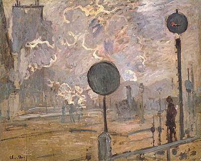 Exterior Of Saint-lazare Station, The Signal Print by Claude Monet