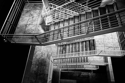 Photograph - Exterior Stairway At The Getty Bw by Belinda Greb