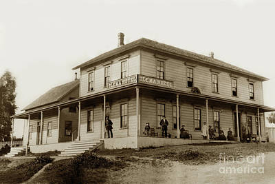 Photograph - Exterior Views Of Olema Hotel With People Assembled On Porch.  Marin Co. 1890 by California Views Mr Pat Hathaway Archives