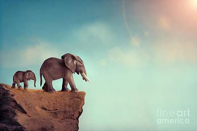 Predicament Photograph - Extinction Concept Elephant Family On Edge Of Cliff by Lee Avison