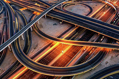 Bus Stop People Square Photograph - Extraordinary Thoroughfare Leading To Abu Dhabi. Dubai, United Arab Emirates. by Marek Kijevsky