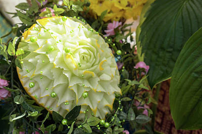 Photograph - Extravagant Jeweled Dishes - Carved Melon Flower With Green Pearls by Georgia Mizuleva