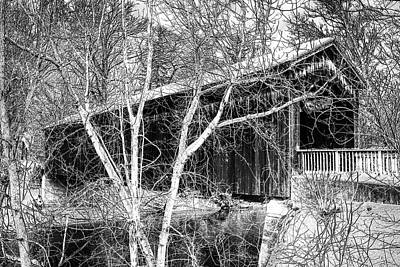 Photograph - Extreme Black And White Conversion Of The Ada Covered Bridge by Randall Nyhof