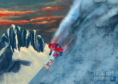 Painting - Extreme Ski Painting  by Sassan Filsoof