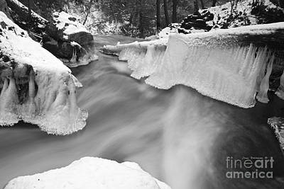 Photograph - Extreme Terrain Atop The Falls Black And White by John Stephens