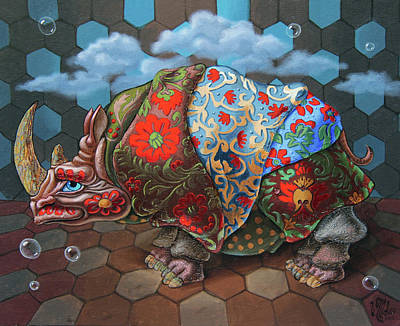 Painting - Extremely Strange Rhinoceros by Victor Molev