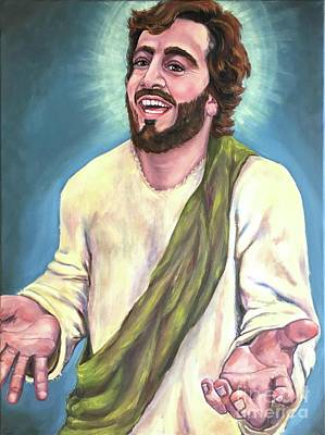 Jesus Laughing Painting - Exulted-laughing Jesus  by Laura Napoli