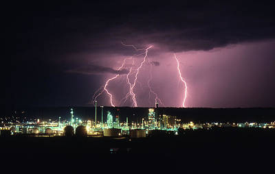 Photograph - Exxon Lightning by Dave Rennie