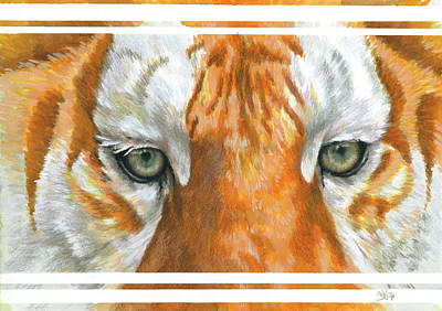 Painting - Eye-catching Golden Tabby Tiger by Barbara Keith