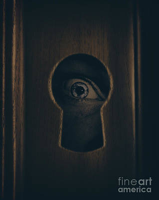 Eye Looking Through Door Keyhole Art Print by Jorgo Photography - Wall Art Gallery